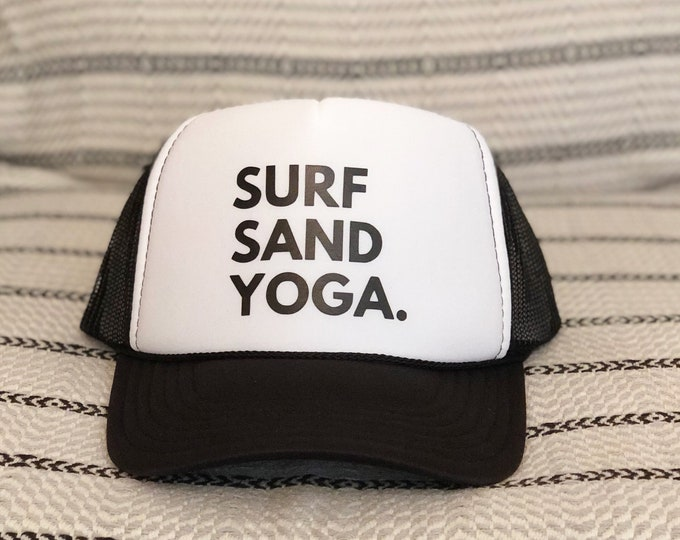 Surf Sand Yoga Black And White Foam Trucker Hat For Women And Men.