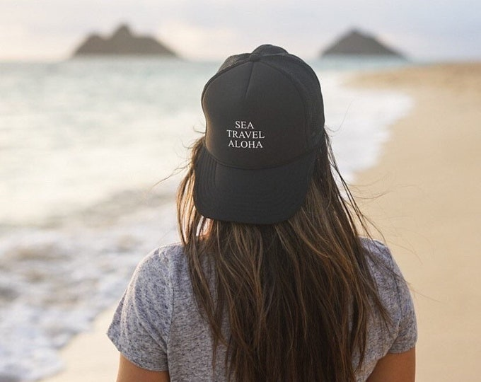 Sea Travel Aloha Black Foam Trucker Hat