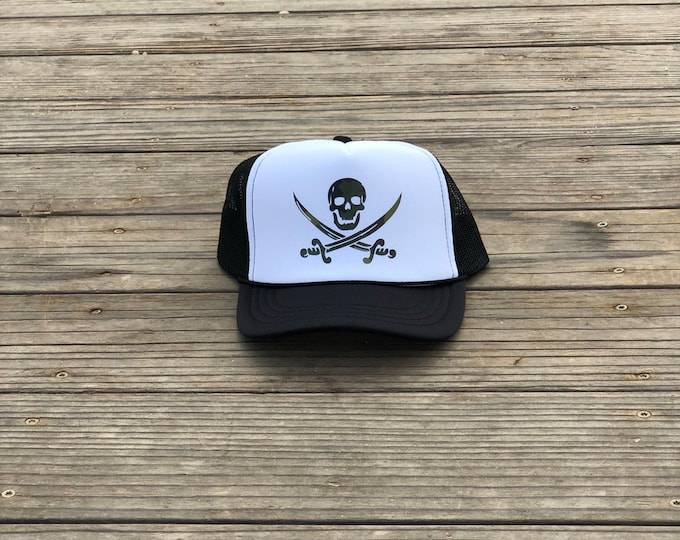 Childrens black and white foam trucker hat with camouflage pirate, Youth pirate foam trucker hat