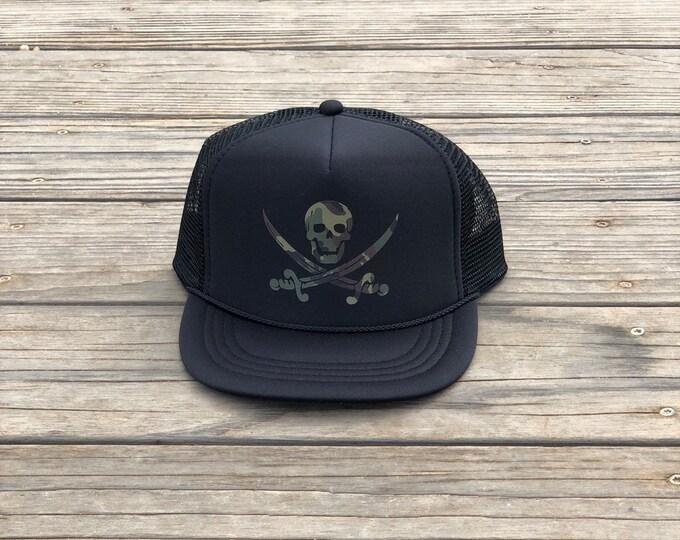Childrens black foam trucker hat with camouflage pirate, Youth black foam trucker hat with camouflage pirate