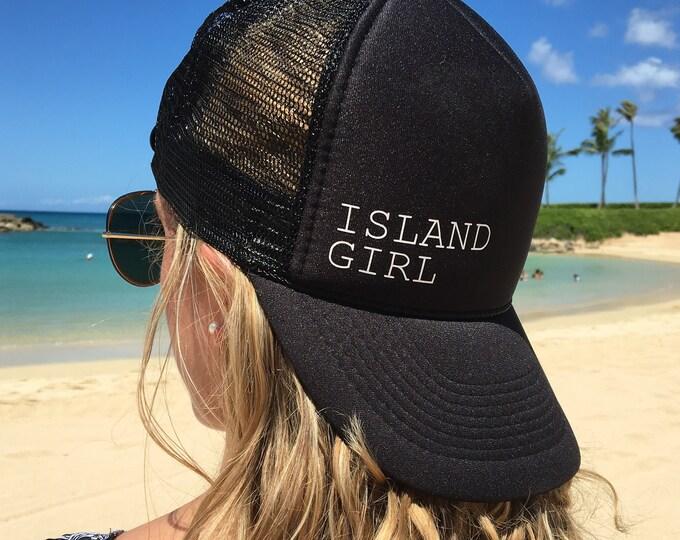 Island Girl Black Foam Trucker Hat, Trucker Hats For Hawaii, Vacation Trucker Hat, Black Tropical Trucker Hat, Catalina Trucker Hat.
