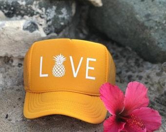 Love with Pineapple Gold Foam Trucker Hat