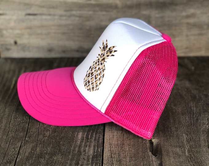 Pineapple Leopard Print Hot Pink And White Adult Foam Trucker Hat