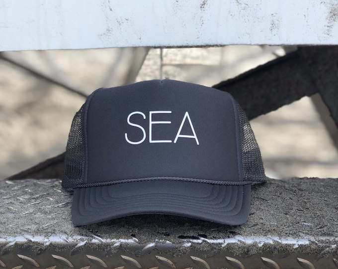 9a5a8eb7 Sea Charcoal Gray Foam Trucker Hat For Men And Women