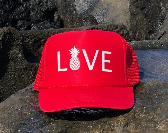 Love with Pineapple Red Foam Trucker Hat