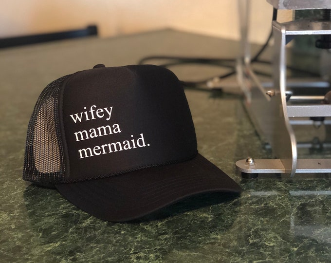Wifey Mama Mermaid Black Foam Trucker Hat