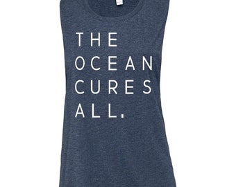 The Ocean Cures All Small Heather Navy Womens Feminine Muscle Tank