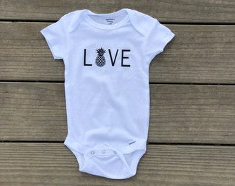 Love With Pineapple White Bodysuit For Infants.