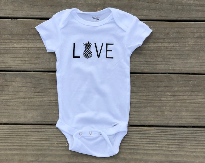 Love With Pineapple White Bodysuit, Infant Bodysuit For Hawaii, White Baby Bodoysuit With Love