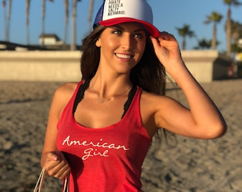 Womens American Girl Red Tank Top, Womens Red Patriotic Tank Top, Red 4th of July Tank Top, Womens American Girl Tank Top Medium