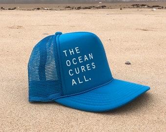 The Ocean Cures All Turquoise Unisex Foam Trucker Hat