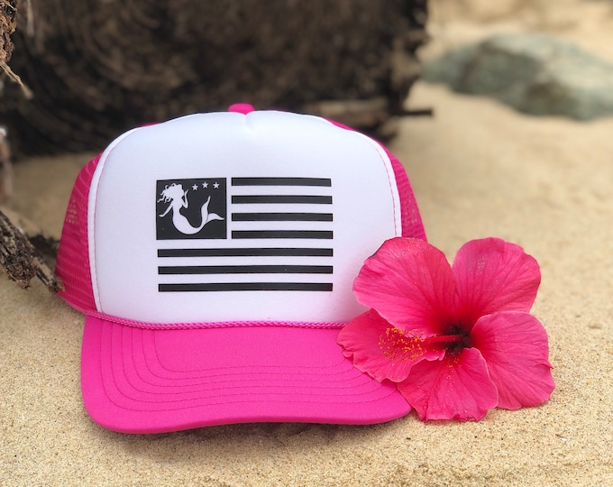 Mermaid Flag Neon Pink Foam Trucker Hat For Women