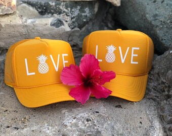 Mama and Me Gold Foam Trucker Hat with Love and Pineapple