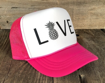 Youth Love With Pineapple Hot Pink Foam Trucker Hat