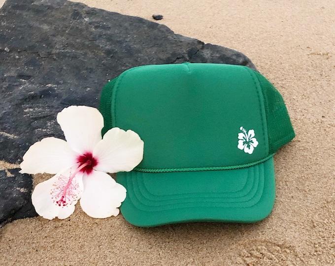 Youth Hibiscus Kelly Green Foam Trucker Hat