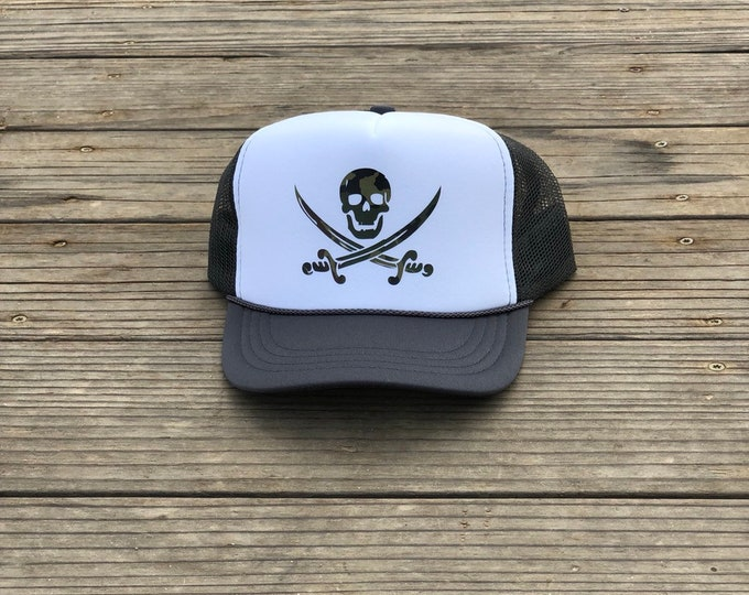 Childrens charcoal gray and white foam trucker hat with camouflage pirate, Boys pirate trucker hat, Youth pirate trucker hat