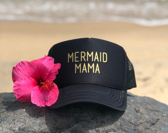 Mermaid Mama Black Foam Trucker Hat