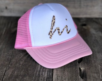 Infant Hawaii Light Pink And White Foam Trucker Hat With Leopard Print