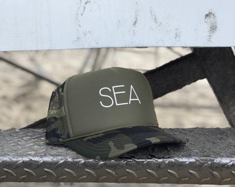 Sea Camouflage Foam Trucker Hat With White Font, Womens Camouflage Trucker Hat, Mens Camouflage Trucker Hat