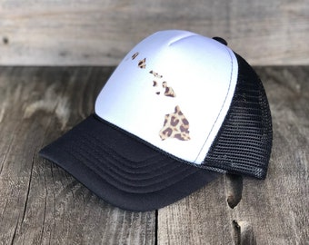 Infant Hawaiian Islands Black And White Foam Trucker Hat With Leopard Print