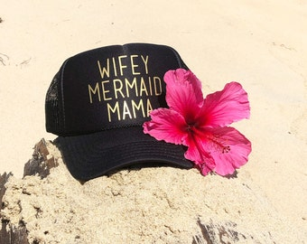 Wifey Mermaid Mama Black Foam Trucker Hat