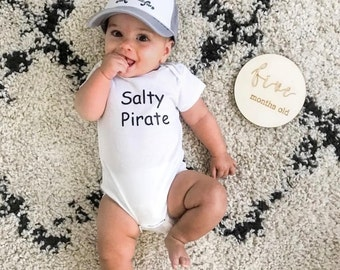 Salty Pirate White Bodysuit For Baby Boys, Pirate Bodysuit For Infant Boys, Handmade Bodysuit For Baby Boys