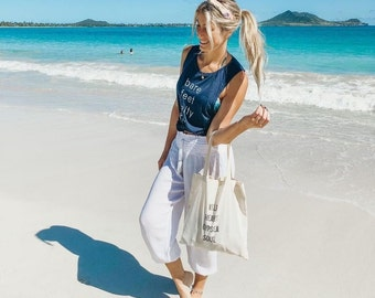 Bare Feet Salty Hair Heather Navy Womens Feminine Muscle Tank