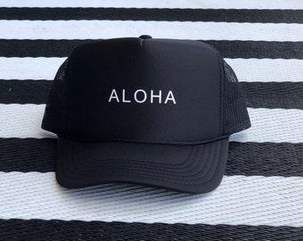 Aloha Black Foam Trucker Hat