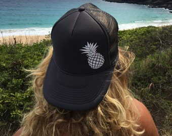 Pineapple Charcoal Gray Trucker Hat, Women's Gray Ball Cap With Pineapple,
