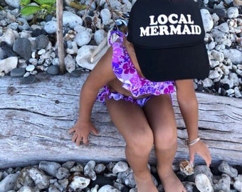 Local Mermaid Youth Black Foam Trucker Hat, Summer Beach Hats For Kids, Hawaii Trucker Hats For Kids, Mermaid Trucker Hat For Children
