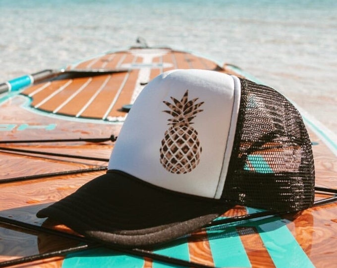 Pineapple Leopard Print Black And White Foam Trucker Hat