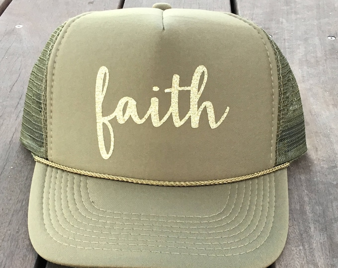 Olive Green Faith Trucker Hat With Gold Glitter, Green Christmas Trucker Hat With Sparkles, Jesus Trucker Hat With Gold Glitter
