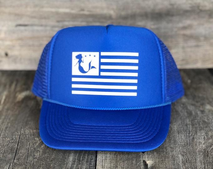 Mermaid American Flag Royal Blue Trucker Hat