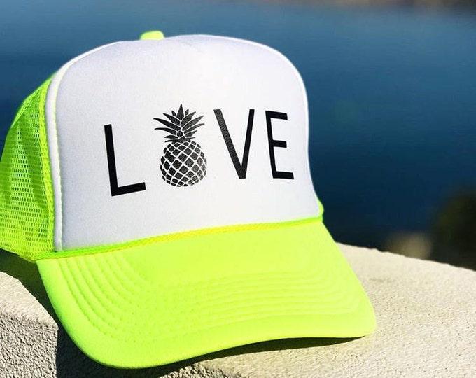 Pineapple Love Neon Yellow/Lime Green And White Trucker Hat With Pineapple, Women's Neon Yellow/White Trucker Hat