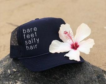 Bare Feet Salty Hair Navy Blue Foam Trucker Hat