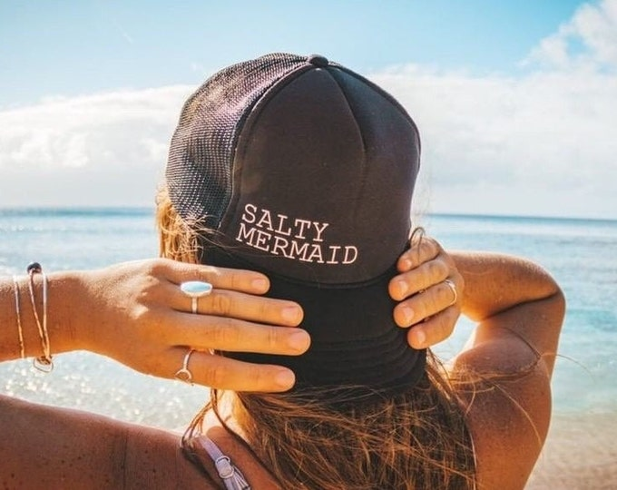 Salty Mermaid Black Foam Trucker Hat For Women.