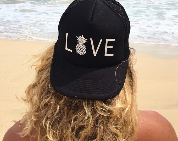 Love Pineapple Foam Trucker Hat For Women