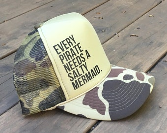 Salty Mermaid Camouflage Foam Trucker Hat For Men and Women