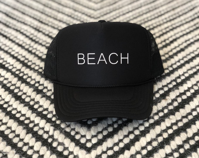 Youth Beach Black Foam Trucker Hat