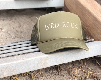Bird Rock Olive Green Trucker Hat With White Font, Womens Bird Rock Hat, Mens Bird Rock Hat