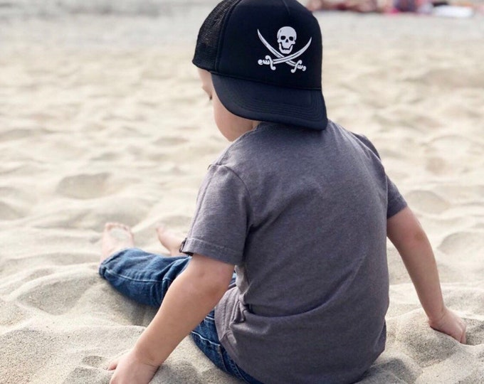 Youth Pirate Black Foam Trucker Hat