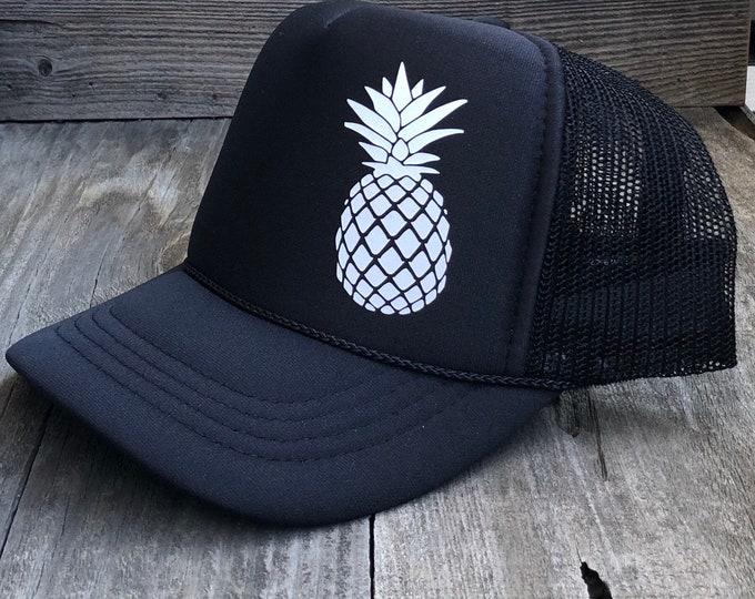 Youth Pineapple Black Foam Trucker Hat For Girls And Boys