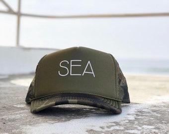 Sea Green Camouflage Foam Trucker Hat For Men or Women
