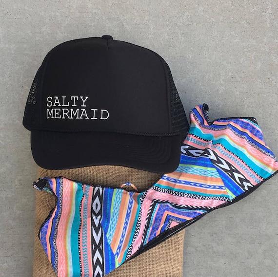 0183b259771 Salty Mermaid Black Trucker Hat Women s Trucker Hats