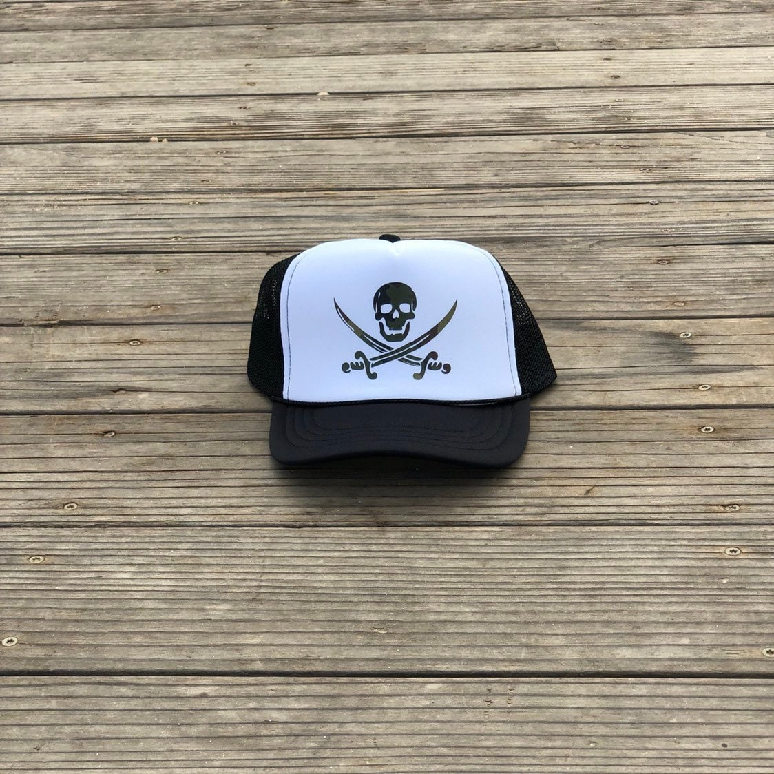 Childrens black and white foam trucker hat with green camouflage pirate 7b9bf67dcaf