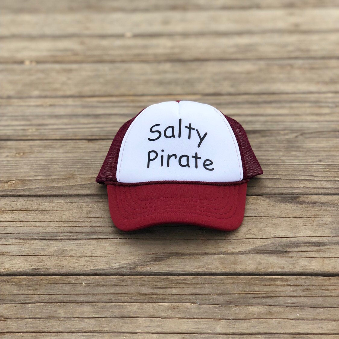 Salty Pirate Infant maroon and white foam trucker hat with black font. 8fbad3d2bbe