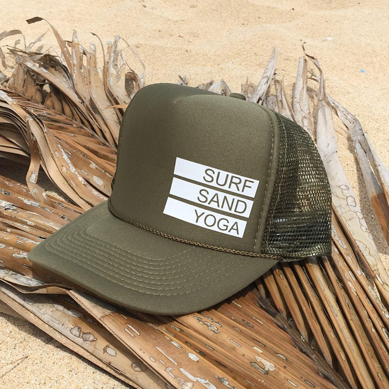 84741eae Surf Sand Yoga Olive Green Foam Trucker Hat | Etsy
