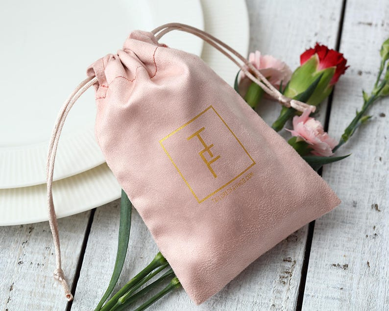 50 white personalized logo print custom drawstring bags jewelry packaging bags pouches chic wedding favor bags white flannel bags