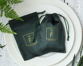 50 dark green bags personalized with your logo custom drawstring bags jewellery packaging chic drawstring pouch premium  Cotton Flannel