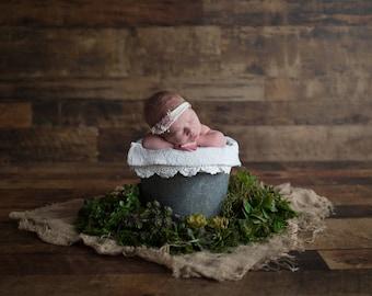 Newborn Digital Backdrop Succulents Moss Burlap Pail Antique Vintage Floral Rustic Organic